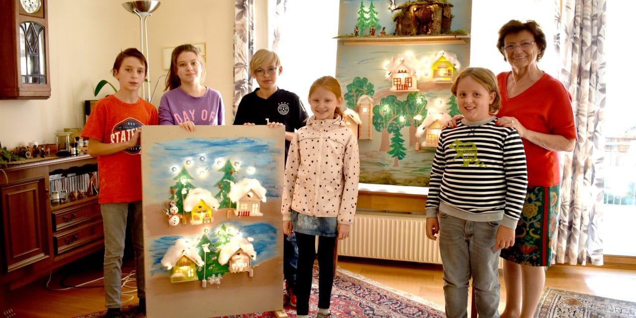 Kinder gestalten Ort als Adventskalender